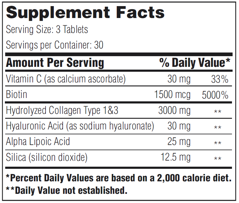 supplement facts megabeauty